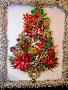 Image result for vintage jewelry framed christmas angels
