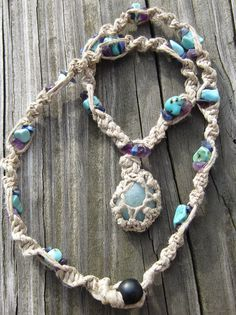 An EASY step by step tutorial on how to make a macrame necklace and how to attach your wrapped rock pendant. via youtube