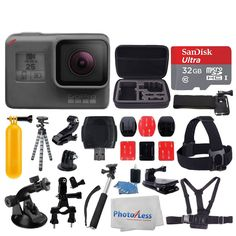 GoPro HERO5 Black Sports Action Video Camera - Waterproof to 33', Wi-Fi, Bluetooth & GPS + SanDisk Ultra 32GB Card + Extendable Monopod + Flexible Tripod + Chest & Head Strap + Jaw Clamp + Accessories