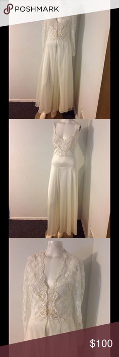 Vintage Victoria's Secret Bridal Pegnoir Set Lace Beautiful vintage Victoria's Secret Pegnoir Set. Ivory Bridal nightgown and matching robe. Both made of nylon with lace, sequins and pearls. Marked size P and fits my size Small mannequin. Great condition. Victoria's Secret Intimates & Sleepwear