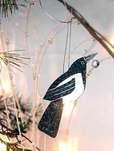 ON SALE Set of tree Magpies ornaments 3 by RiciclettaShop on Etsy