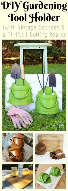 Some random thrift store finds- like these vintage wooden bucket sconces and a beat up old cutting board- are perfectly paired to hold, store, and organize my garden hand tools in our garage! Trowels, claws, and weed forks are organized and easy to find, each time I do my gardening! Great repurpose / upcycle DIY project by #SadieSeasongoods / www.sadieseasongoods.com