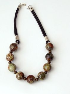 Bronzit and Jasper brown red orange necklace on leather by LenaMer