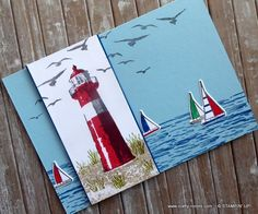 A Lighthouse at High Tide - Crafty-rootes Masculine Birthday Cards, Birthday Cards For Men, Masculine Cards, High Tide Stampin Up, Nautical Cards, Beach Cards, Hand Made Greeting Cards, Stamping Up Cards, Fathers Day Cards