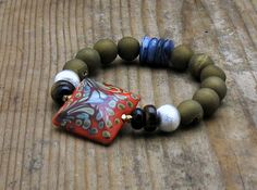 Huge designer lampwork focal with khaki agate druzy and kyanite and brushed sterling silver