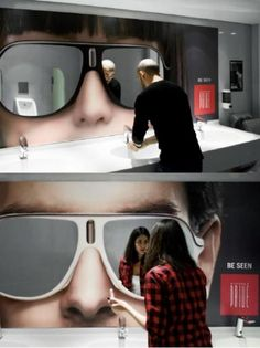 Sunglasses bathroom mirrors