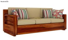 Buy Marriott 3 Seater Wooden Sofa (Honey Finish) Online in India - Wooden Street Outdoor Sofa, Outdoor Furniture, Outdoor Decor, Wooden Sofa Designs, Wooden Street, Small Sofa, 3 Seater Sofa, Furniture Projects, Diy And Crafts