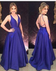Elegant Prom Dress,Long Prom Dress,Regency Prom Dress,A Line Prom Dresses,Royal Blue Prom Dress,V Neck Evening Dress