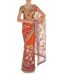 Ombre Orange and Magenta Sari with Golden Floral Applique