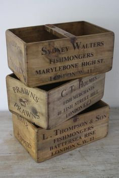 Set of 3 large wooden fish crates