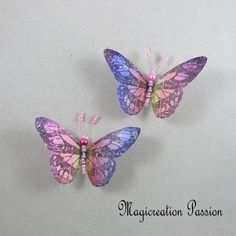 Magnets décoratifs papillons soie rose multicolore 8,5 cm + 2 aimants - Un grand marché Chat 3d, Magnet, Insects, Decoration, Pink Silk, Playing Card, Papillons, Wall Art, Net Curtains
