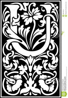 flowers-decorative-letter-u-balck-white-english-alphabet-black-38518576.jpg (900×1300)