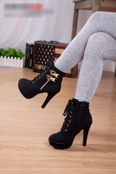 Buckle and lace up platform high heel boots