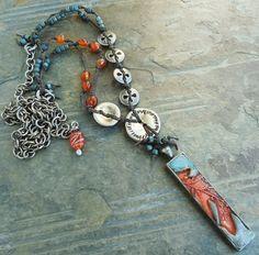 Oak Leaf Pendant Slate Blue Orange Knotted Gunmetal Buttons with Carnelian Boho   polymer pendant