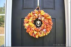 Fall fabric strip wreath