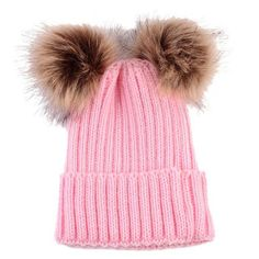 5aa6ca19599 Staying warm can be fashionable in these women s knitted hat with fur  pompoms. Winter Caps. Winter CapsKids Winter HatsKids HatsMom BabyBaby  BoyBaby ...