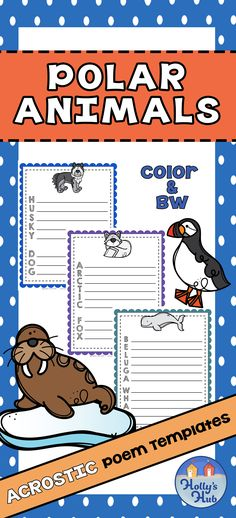 These cute Polar Animal poem templates short and longer words in order to differentiate different levels of writers. Each word id in color and B&W Why not display your children's fantastic poetry on your bulletin boards? Children can choose their favorite words and write their own poem. Great for teaching about habitats in science, poetry, creative writing or just for a fun time filler! #polaranimals #polarpoetry #acrosticpoems #animalworksheets #animalpoeams #elementary #primary #hollyshub #tpt