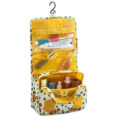 ColorMixs? Hanging Toiletry Bag Clear Travel Bags Cosmetic Carry Case Toiletry ( Yellow Smile) ** More info could be found at the image url.