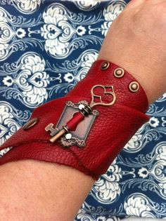 EmBracer - Soft wraparound Leather Cuff Bracer, Raw-edged Red Cow with Antique Copper Key, Rivets and Escutcheon Keyhole.
