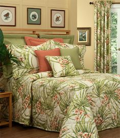 Cozumel in Ginger, Greens and Cream Cotton Duck Comforters, Bedspreads and Duvet Covers by Thomasville at Home. Made from the fabrics of Cozumel print on cotton duck fabric, Pebbletex Pear dyed solid cotton duck, and New Splendor Ginger dyed solid cotton. Tropical Quilts, Tropical Bedding, Tropical Bedrooms, Tropical Decor, Tropical Flowers, Wholesale Linens, Cream Bedding, Luxury Bedding Collections, California King