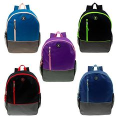 a682cd8ee1 New Moda West 16 Wholesale Backpacks w Headphone slot Side Mesh Pockets 5 Assorted  Colors - Bulk Case 24 Bookbags online