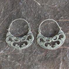 Sterling silver hoop earrings, 'Dancing River' - Silver Hoop Earrings Handmade in Mexico