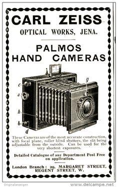 Original - Anzeige / Advertise 1903 : (ENGLISH) CARL ZEISS PALMOS HAND CAMERAS  -  65 x 100 mm