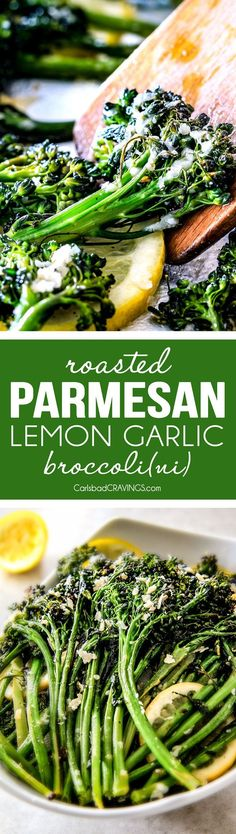 Roasted Parmesan Lemon Garlic Broccoli (or Broccolini) is bursting with flavor, caramelized edges and the easiest side dish to every meal all made in one pan! Broccoli Recipes, Garlic Broccoli, Vegetable Recipes, Vegetarian Recipes, Cooking Recipes, Healthy Recipes, Broccoli Dishes, Broccoli Soup, Healthy Meals