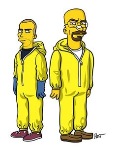"""Did you miss Breaking Bad after its final episode? Then it is time to show you the """"simpsonized"""" versions of Walter White, Jesse Pinkman, Walt Jr. Walter White, Gustavo Fring, The Simpsons, Simpsons Funny, The Walking Dead, Beaking Bad, Serie Breaking Bad, Simpson Tv, Character"""