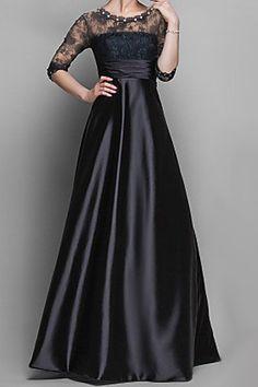 Charming Scoop Neck Lace Splice High Waist 3/4 Sleeve Long Dress For Women
