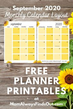 Free Printable Planner Pages | September 2020 Sunflower Planner - Monthly Layout at @momfindsout Printable Planner Pages, Free Planner, Monthly Planner, Calendar Layout, Planner Layout, Planner Ideas, Printable Activities For Kids, Free Printables, Calligraphy Tutorial