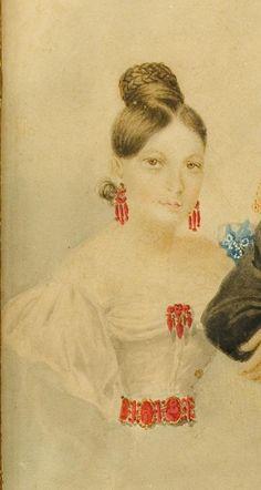 Баронесса Розен Лидия Григорьевна (1817-1866), в браке княгиня Дадиани, художник Вильчинский Роман, 1837 г.  (фрагмент).