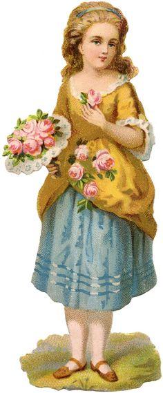 Vintage Scrap Girl Image