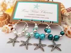 #etsy shop: BEACH WINE CHARMS, 4 Starfish Wine Glass Charms, Beach Theme Bridal Shower Favors, Beach Wedding Favors, Beach Wine Gift, LasmasCreations #weddings #winecharms #starfishwinecharms #winegift #wineglasscharms #beachthemegifts #aquaweddingdecor #bridesmaidsgifts #beachfavors http://etsy.me/2oImvwD