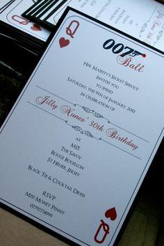 007 elegant invitation instead for bachelorette party. James Bond Party, James Bond Theme, Casino Night Party, Casino Theme Parties, Vegas Party, Elegant Invitations, Party Invitations, 007 Theme, 007 Casino Royale