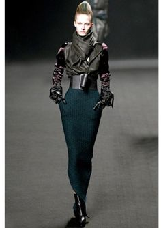 HAIDER ACKERMANN Silk Satin Sleeves Draped Nappa Leather