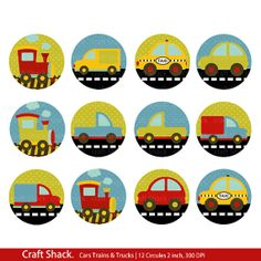 Cars trains and trucks Cupcake toppers/Party by craftshackdesign, $3.00