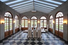Mediterranean Dining Room with Exposed beam, Cathedral ceiling, Skylight, Wall sconce White Leather Furniture, Gazebo, Pergola, Luxury Accommodation, Concrete Floors, Skylight, My Dream Home, Wedding Venues, Outdoor Structures