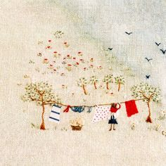 An English Country Garden embroidery by Caroline Zoob- this would be lovely around the edge of a table cloth.