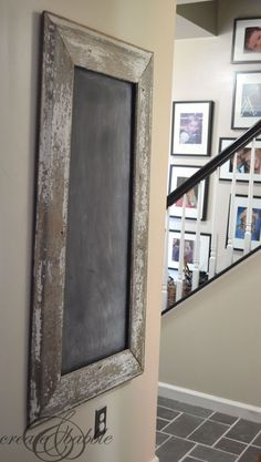 DIY: How to Make a Chalkboard Frame from Salvaged Wood Siding + take a look at an awesome salvage yard - via Create and Babble