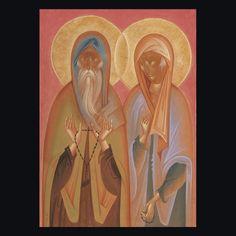 Saιnt Andronikos and saint Athanasia. Egg Tempera on wood. Byzantine Icons, Tempera, Sacred Art, Religious Art, Saints, Artwork, Egg, Painting, Wood