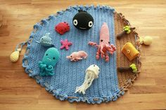 Ocean Playmat with Sea Creatures and Treasure by GoodMorningYarns