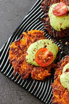 Crispy kumara cakes topped with green cashew sauce.