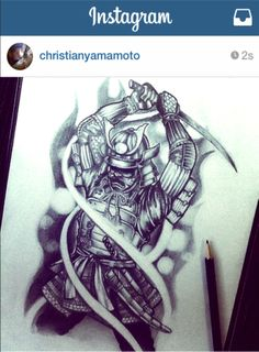 Samurai Sketch #tattoo #art #samurai #pencil #chrisyamamoto www.instagram.com/chris_yamamoto