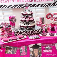 Pink Amp Zebra Graduation Cupcake And Candy Ideas