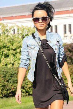 Jean Jacket + Little Black Dress but I'm gunna wear my bomber jacket with mine.