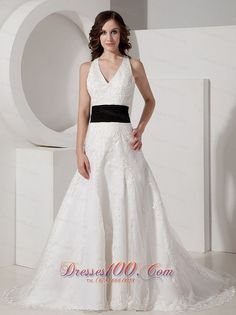 Customize A-line Halter Court Train Satin and Lace Appliques Wedding Dress - Top Selling    Item ID #:DR1JSYD82012     gmmg