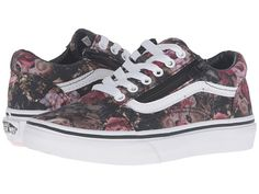 Vans Kids Old Skool Zip (Little Kid/Big Kid) (Moody Floral) Black/True White - 6pm.com