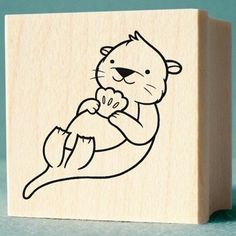 Items similar to Otter Rubber Stamp - wood mounted, deep etched, red rubber stamp on Etsy Art Drawings For Kids, Animal Drawings, Otter Cartoon, Dorm Art, Sea Otter, Coloring Book Pages, Otters, Doodle Art, Painted Rocks
