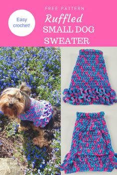 Free Ruffled Small Dog Crochet Sweater Pattern - This small dog sweater with ruffles is perfect for your little girl fur babies who are about 10-lbs. It's so cute and stylish she'll be prancing around like a pampered princess in her fancy tutu coat! Plus, it's super easy to put together and requires only basic stitches. Don't let the ruffles intimidate you. They are actually really simple to make! #freepattern #dogsweater #petwear #crochet #howto #dogcoat #ruffles #dog #doglovers